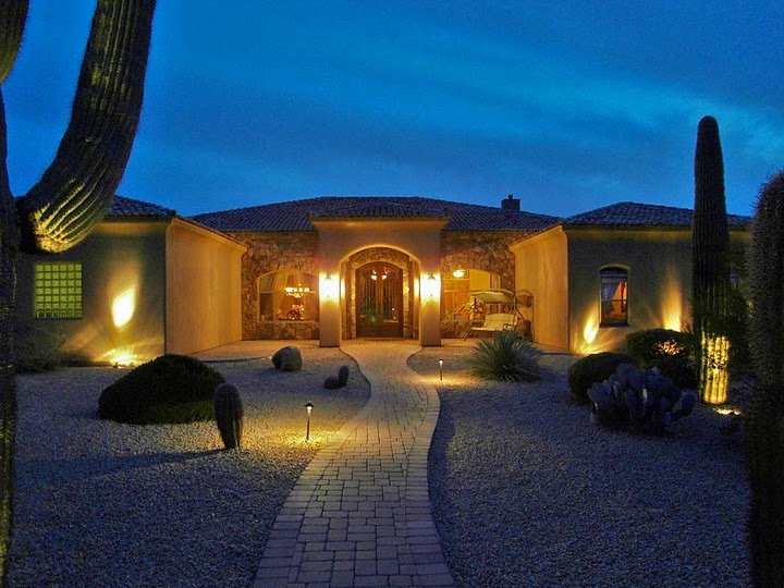 picture of Scottsdale luxury home at night