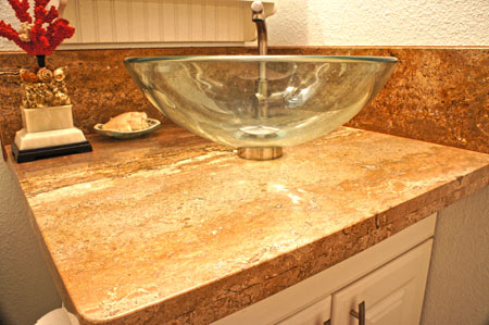 Home remodeling of bathroom with replacement granite project